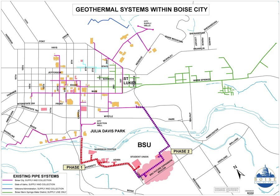 Geothermal systems map of Boise ID